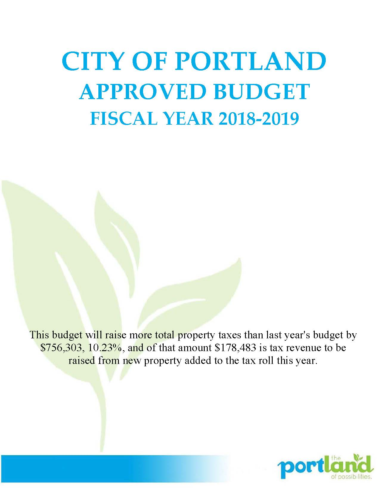 2018-19 City Budget - Approved web_Page_01 Opens in new window